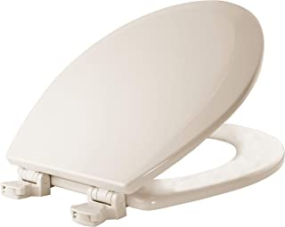 BEMIS 500EC 346 Toilet Seat with Easy Clean & Change Hinges, ROUND, Durable Enameled Wood, Biscuit/Linen