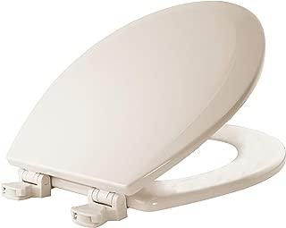 BEMIS 500EC 346 Toilet Seat with Easy Clean & Change Hinges, ROUND, Durable Enameled Wood, Biscuit/Linen