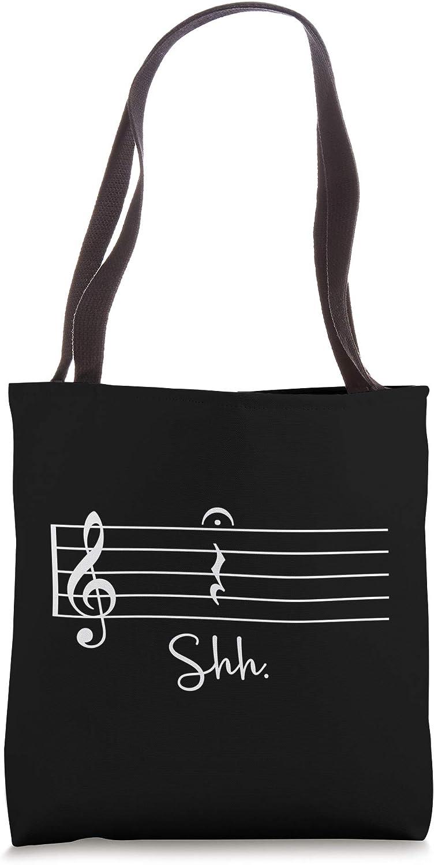 Funny Music Notes Shh Quarter Fermata Christmas Gift Tote Bag