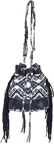 IndiWeaves Women Vintage Handmade Jacquard Leather Handle Cross Body Sling Bag