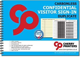 Cherry Confidential Visitor Log Book/Sign In/Register 2-Part Book, 50 Sets, 8.27 x 11.69 Inches