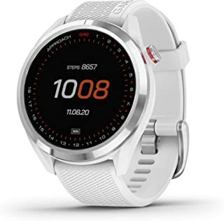 "$299 » Garmin Approach S42, GPS Golf Smartwatch, Lightweight with 1.2"" Touchscreen, 42k+ Preloaded Courses, Silver Ceramic Bezel ..."