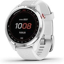 Garmin Approach S42 ، ساعت هوشمند GPS Golf ، سبک با صفحه نمایش لمسی 1.2 اینچی ، دوره های پیش بار 42k ، قاب سرامیک نقره ای و نوار سیلیکون سفید ، 010-02572-11