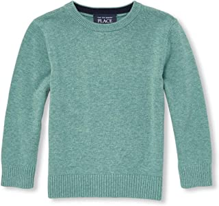 The Children's Place Baby Boys Solid Crew Sweaters, Heather/T