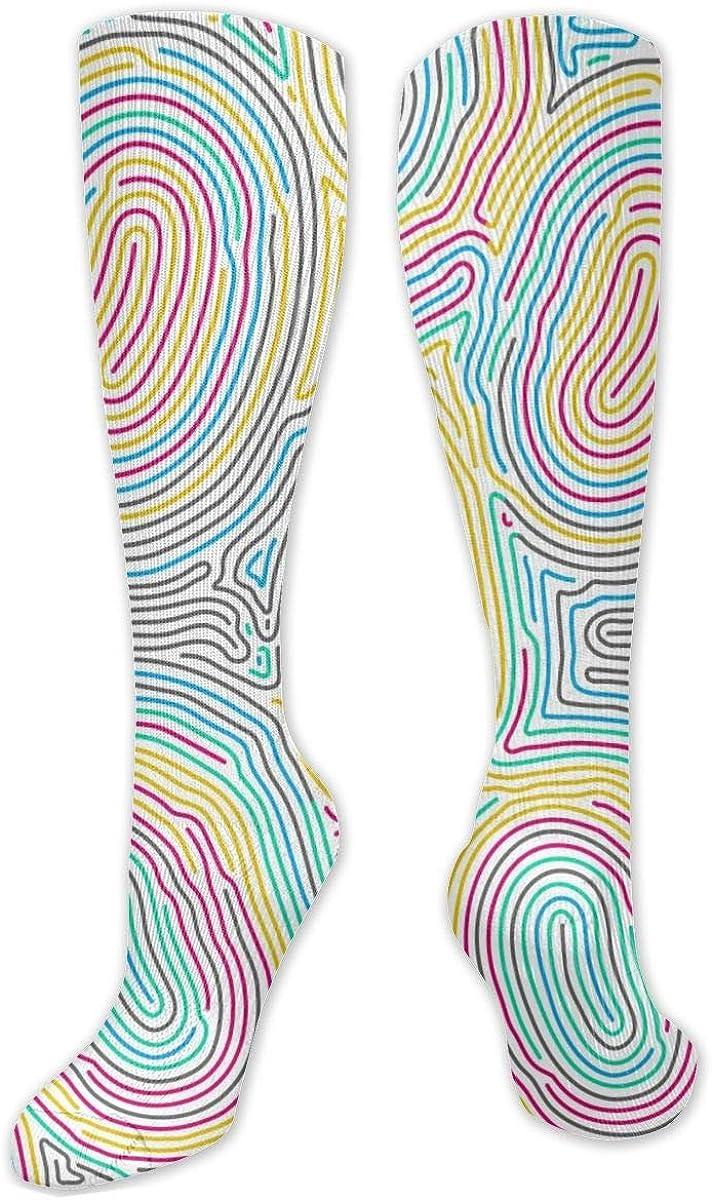 Colored Fingerprint Knee High Socks Leg Warmer Dresses Long Boot Stockings For Womens Cosplay Daily Wear