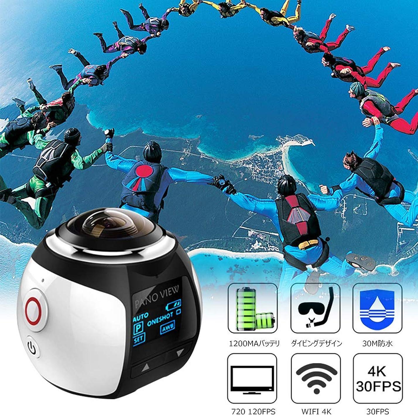 すみません太鼓腹徒歩でOSEI 360度 パノラマカメラ 1600万画素センサー IP67 30m超防水 運転記録 自転車、ライディング、スキー、サーフ、ダイビング 仮想メガネ3D?VR用アクション スポーツカメラ 空撮に最適 360度全天球カメラ 8種類撮影モード 写真を撮ってからすぐにアプリでFacebook、Instagramなどに発表可能 WiFi対応 遠隔操作可能 日本語対応 (白い)