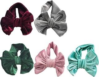 5PCS Velvet Headband for Baby,Toddler Girls Bows Turban Head Wrap Hair Bands Photography Props Hairband
