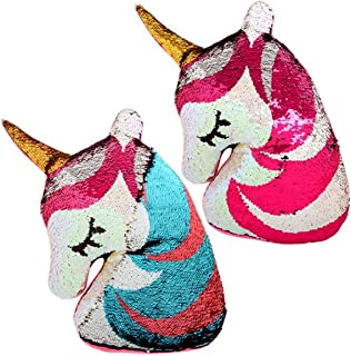 "Reversible Flip Sequin Pillow that Changes Color 16"" Unicorn Shaped Stuffed Animal, Bedroom Decor