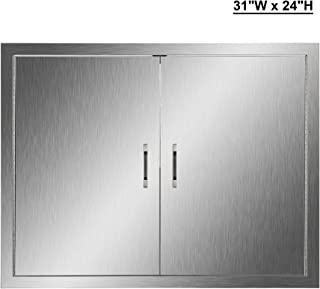 CO-Z Outdoor Kitchen Doors, 304 Brushed Stainless Steel Double BBQ Access Doors for Outdoor Kitchen, Commercial BBQ Island, Grilling Station, Outside Cabinet, Barbeque Grill, Built-in (31