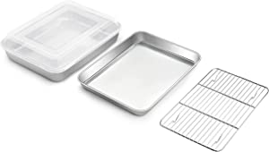 TeamFar Toaster Oven Pan, 9.3'' x 7'' Stainless Steel Mini Rectangular Cookware Baking Roasting Cake Pan with Cooling Rack and Lid, Healthy & Sturdy, Deep & Visible Lid, Dishwasher Safe – 4 PCS