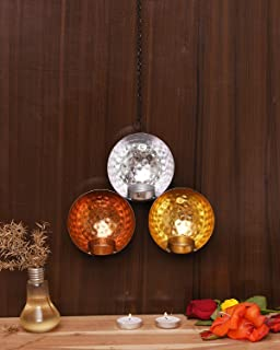 CraftVatika Iron Round Shaped Wall Candle Holder Sconce Hanging | Tea Light Candle Holder for Living Room | Decor for Home...