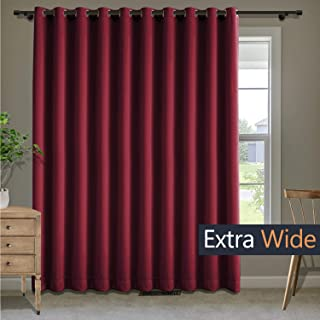 Macochico Extra Wide Curtains Bronze Grommet Room Drakening Drapes Thermal Insulated Blackout Curtains for Bedroom Living Room Guest Room Red 50W x 84L Inch (1 Panel)