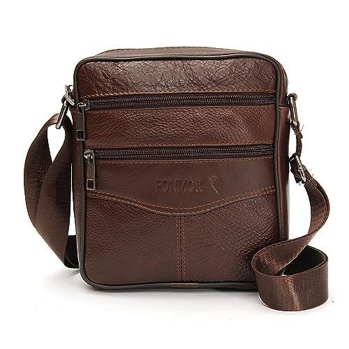 2bc5262397 OURBAG Men Vintage Cowhide Leather Shoulder Messenger Bag Crossbody Small Satchel  Dark Brown