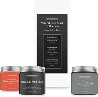 Facial Mask Gift Set with Dead Sea Mud Mask, Bentonite Clay and Charcoal Mask - Self Care Gifts for Women, Mom or Wife - P...