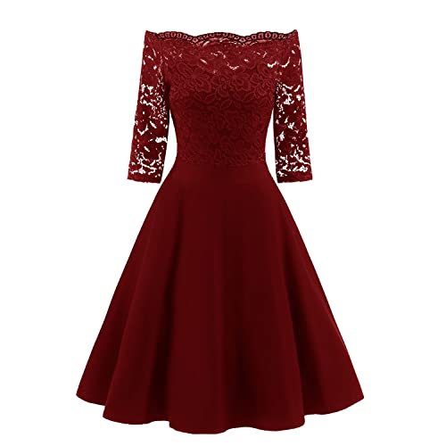 sankill Lady Vintage Floral Lace Manga Corta Cuello Barco Cocktail Formal Swing Vestidos para Mujer