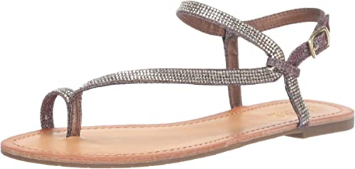 Kenneth Cole REACTION Wohombres Just Braid Flat Sandal with Toe Ring and Ankle Straps, oro Multi, 9 M US