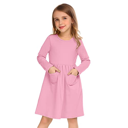 5ca344e1a4c Arshiner Little Girls Dress Long Sleeve Solid Color Casual Skater Pocket  Dress