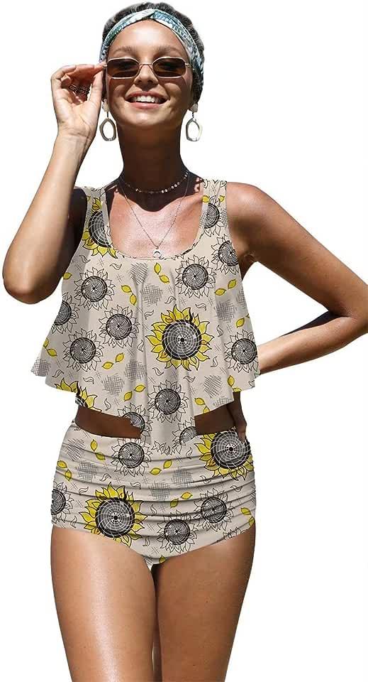 Angerella Womens Cute Sunflowers Seamless Pattern Flounce Bikinis High Waisted Swimsuits,L-2 Yellow