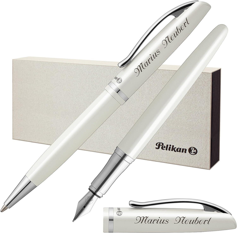Pelikan Schreibset JAZZ ELEGANCE Weiß Metallic mit persönlicher Laser-Gravur Füllfederhalter und Kugelschreiber B072J9N4NH | Ruf zuerst