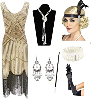 1920s Gatsby Sequin Fringed Paisley Flapper Dress with 20s Accessories Set 5383417ecc70