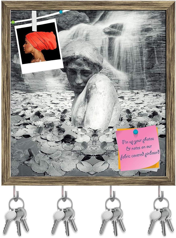 Artzfolio Fantasy Background of A Female Statute Key Holder Hooks   Notice Pin Board   Antique golden Frame 16 X 17.1Inch