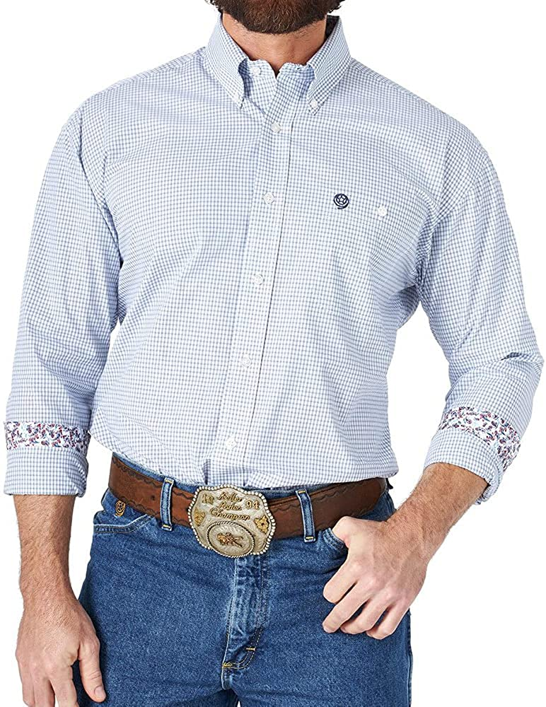Wrangler Men's George Strait by Small Plaid Long Sleeve Button-Down Western White Large Tall