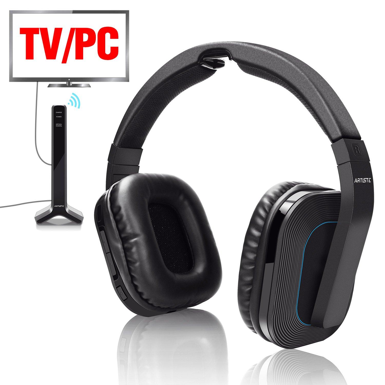 Auriculares inalámbricos para TV, 2,4 GHz, auriculares inalámbricos con cable para TV óptico digital coaxial