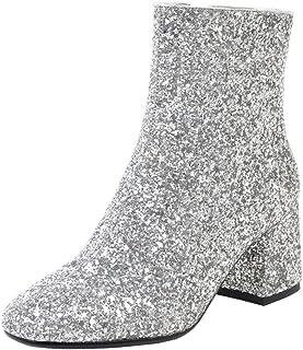 c136b5091bed Coolulu Women s Mid Block Heel Glitter Ankle Boots Zipper Party Short  Booties Shoes