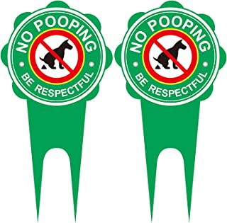 """GUIFIER 2 Pack Double Sided 13.8"""" x 6.7"""" No Dog Pooping Sign with Stake,Be Respectful No Pooping Dog Aluminum Yard Sign No..."""