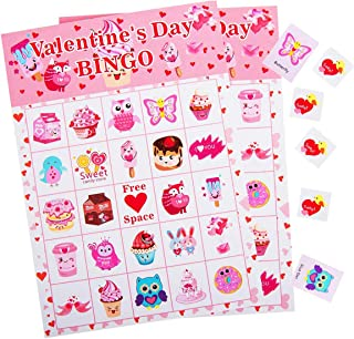 Valentine's Day Bingo Game for Kids - 24 Players, Bingo Cards for Valentine Party Games, School Classroom Activities, Party Favors Supplies