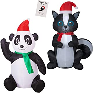 Christmas Panda and Skunk Inflatable Decoration Bundle - Wearing Santa Hats 3.5 ft Each with Inflatable Care Guide