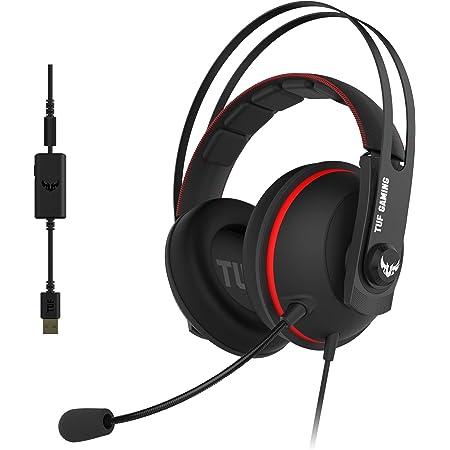 ASUS TUF Gaming H7 Cuffie gioco per PC, PS4, Nintedo Swicth, XBOX One, Audio virtuale 7.1 integrato, cuscinetti confortevoli, colore Rosso.