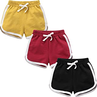 Paquete de 3 pantalones cortos deportivos de algodón para correr, para niños, para entrenamiento de bebé y moda de delfín ...