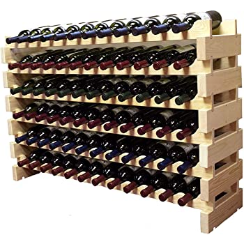 Stackable Modular Wine Rack Storage Stand Wooden Wine Holder Display Shelves, Thick Wood (Natural, 12 X 6 Rows (72 Slots))