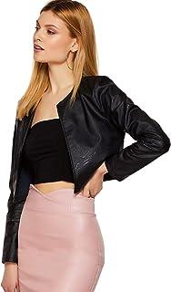 ژاکت باز زنانه چرمی جلوی باز زنانه SheIn کت آستین بلند Bolero