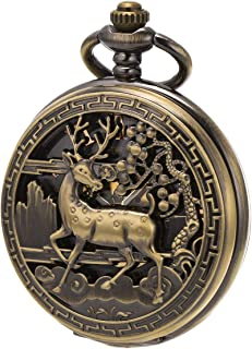 SIBOSUN Vintage Pocket Watch Mechanical Double Cover Skeleton Christmas Reindeer Deer Men Women, Bronze