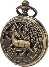 SIBOSUN Vintage Pocket Watch Mechanical Double Cover Skeleton Christmas Reindeer Deer Men Women, Bronze