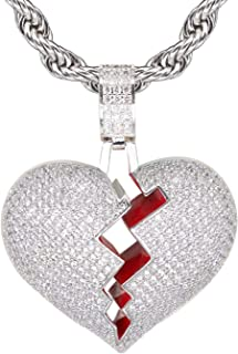 Broken Heart Pendant Necklace Hip Hop CZ Fully Iced Out Bling CZ Diamond 24K White Gold Plated with 24