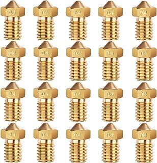E3D Nozzles, ExcelFu M6 0.4mm Brass Nozzle Extruder Print Head for 1.75mm Filament E3D V5-V6 3D Printer, Pack of 20