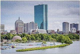 HDボストンマサチューセッツ-ロングフェロー橋からのチャールズリバーとバックベイの眺め9019836(大人向けプレミアム1000ピースジグソーパズル19x27)