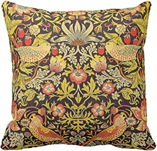 SPXUBZ William Morris Strawberry Thief Pattern Floral Pillow Cover Decorative Home Decor Nice Gift Square Indoor/Outdoor Pillowcase Size: 16x16 Inch(Two Sides)