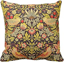 SPXUBZ William Morris Strawberry Thief Pattern Floral Pillow Cover Decorative Home Decor Nice Gift Square Indoor/Outdoor Pillowcase Size: 18x18 Inch(Two Sides)