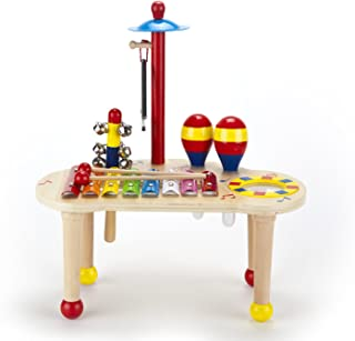 Musical Instruments for Kids Wooden 6 Educational Percussion Toys Includes Xylophone,Maracas,Triangle,Drum,Bells,Cymbal Foster Toddler Preschool Musical Learning