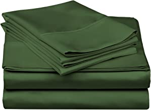 Superior 100% Premium Combed Cotton, 300 Thread Count 4-Piece Bed Sheet Set, Single Ply Cotton, Deep Pocket Fitted Sheets, Soft and Luxurious Bedding Sets - Queen Waterbed, Hunter Green