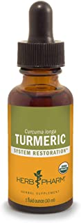 Herb Pharm Certified Organic Turmeric Root Liquid Extract for Musculoskeletal System Support - 1 Ounce