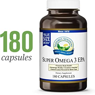 Nature's Sunshine Super Omega-3 EPA, 180 Softgels | Supports Brain Health, Encourages Healthy Circulatory Function, and Includes Lemon Oil for Improved Taste