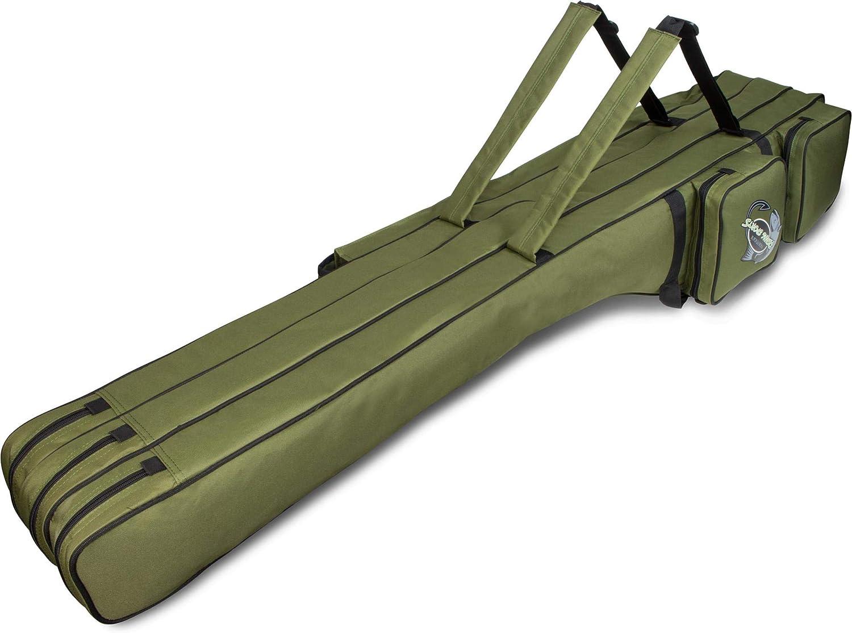L/ängenverstellbar von 150 bis 190 cm normani XXL Angel-Rutentasche Ruttenfutteral mit 3 Innenf/ächer