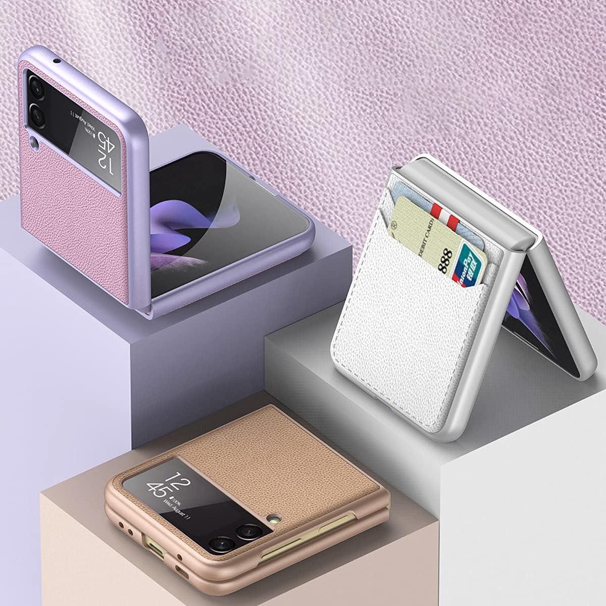 FUTURECASE Galaxy Z Flip 3 Case, Z Flip 3 5G Phone Case, Samsung z Flip 3 Case, PU Leather Wallet Card Holder Case for Samsung Galaxy z Flip 3 Samsung ZFlip 3 ZFlip3 Z Flip3 Coque Funda Cover(Black)