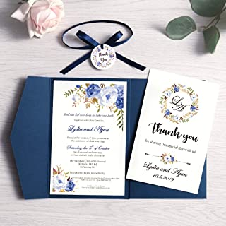 Doris Home Tri-fold wedding invitations for Bridal Shower, Dinner, Beach theme, Party with Ribbon and Tags, DH0001 (Blue, ...