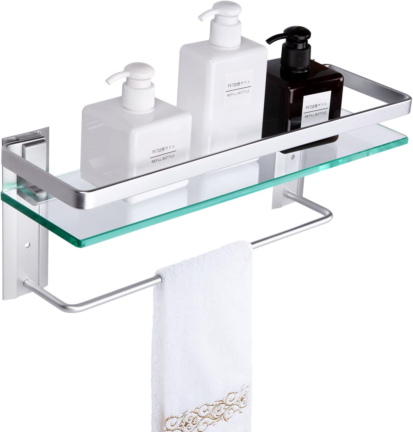 Amazon Com Vdomus Tempered Glass Bathroom Shelf With Towel Bar Wall Mounted Shower Storage 15 2 By 4 5 Inches Brushed Silver Finish Kitchen Dining